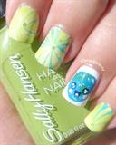 Water Marble Kawaii Earth Day Nail Art