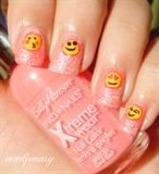 Pink Glittery Emoji Nail Art
