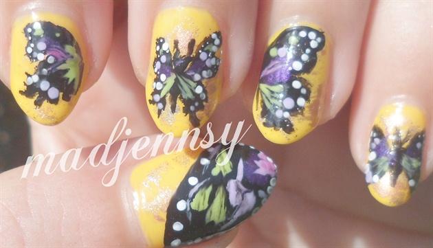 Purple & Green Butterfly Nail Art