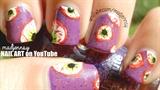 Bloody Eyeball Halloween Scary Nail Art