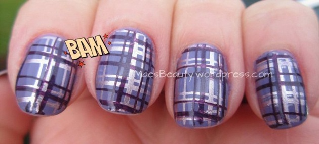 Purple double stamped nails