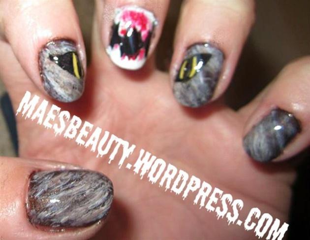 Werewolf halloween mani