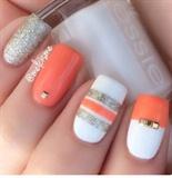 Orange,white,and Sliver Sparkles