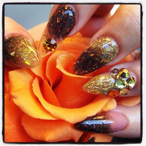 Gold and brown stilettos