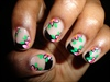 Black tip french manicure w/pink flowers