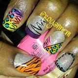 Colorful Animal Print Sparkle Nails