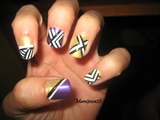 Purple and Yellow arrow nails