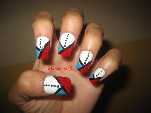 Lines and dots nail design