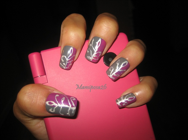 grey and violet leaf nails