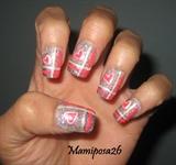 glittery heart nails