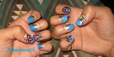 Denim french tip flower nails