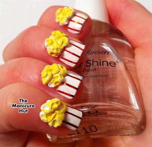 3D Buttered Popcorn Nail Art