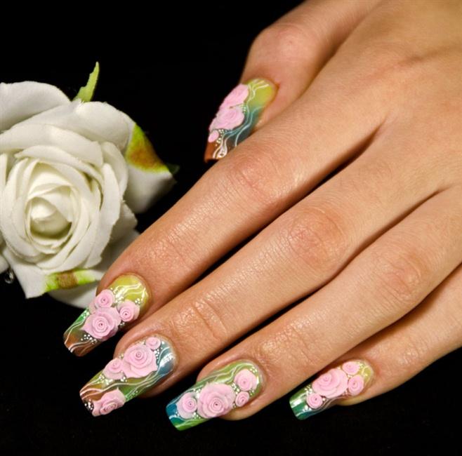 Rose Nail Art Acrylic Nails: Nail Art Gallery