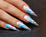 One-Stroke Roses nail art