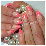 Coral Glitter Nails