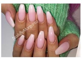 White Ombré Ballerina Nails
