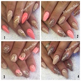 Nude, Coral And Champagne Glitter