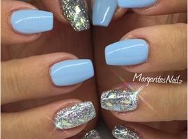 nail art: Blue & Silver