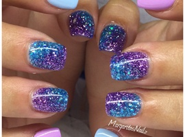nail art: Blue & Purple