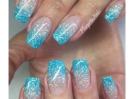 nail art: Blue Glitter Ombre