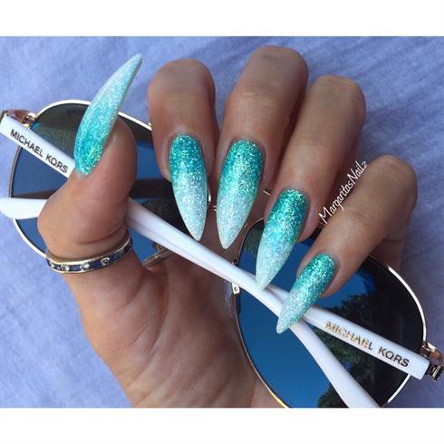 Coral acrylic nails