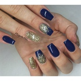 Navy Blue And Gold Glitter Nails