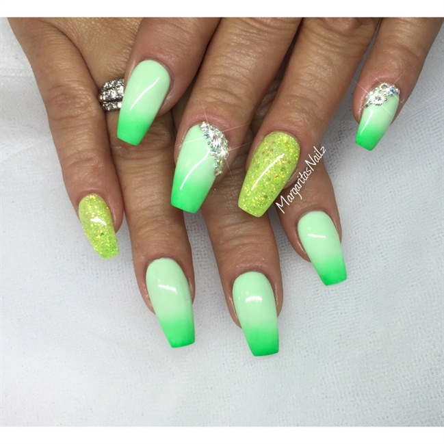 Green Ombre - Nail Art Gallery Lime Green Nail Art Photos