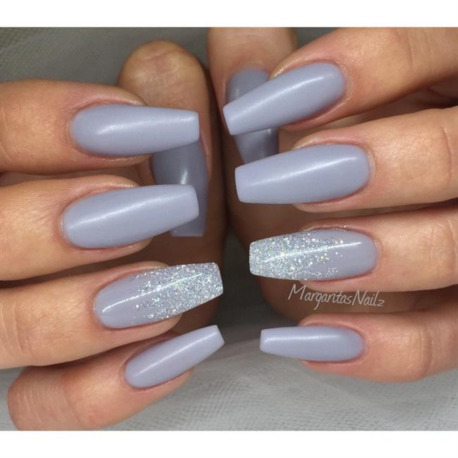 Grey Matte Coffin Ballerina Nails