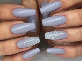 Grey Matte Coffin/ballerina Nails