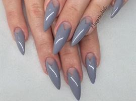 Grey Stiletto Nails