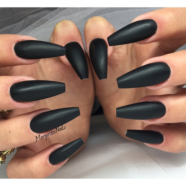Black Matte Ballerina Nails - Nail Art Gallery
