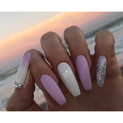 White And Lavender Coffin Nails Nail Art Gallery