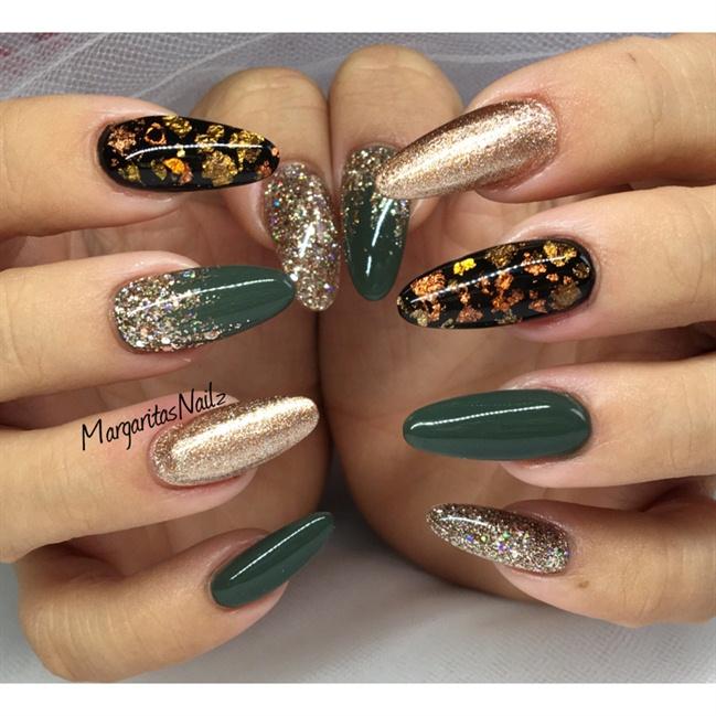 Green And Rose Gold Nails - Nail Art Gallery