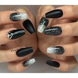 Black Matte And Glitter Ombré Nails