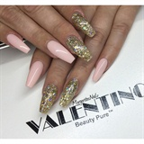 Nude Pink And Gold Glitter Coffin Nails