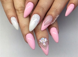 nail art: Pink And White Almond Nails