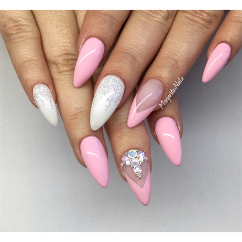 Pink And White Almond Nails Nail Art Gallery