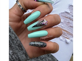 Mint With Black Coffin Nails
