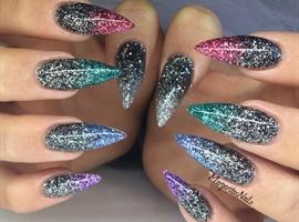 Glitter Ombré Stiletto Nails