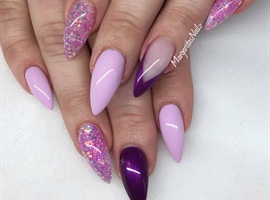 nail art: Purple And Lavender Stiletto Nails
