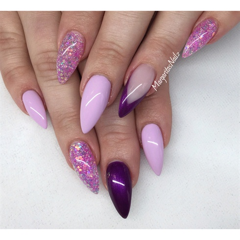 Purple And Lavender Stiletto Nails - Nail Art Gallery