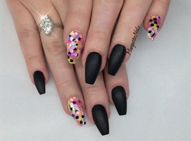 Black Matte With Neon Dots Coffin Nails