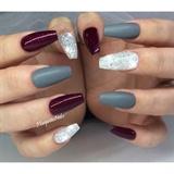 Matte Gray Coffin Nails