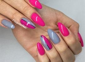 nail art: Pink And Grey Nails