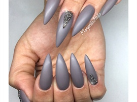 Matte Grey Stiletto Nails