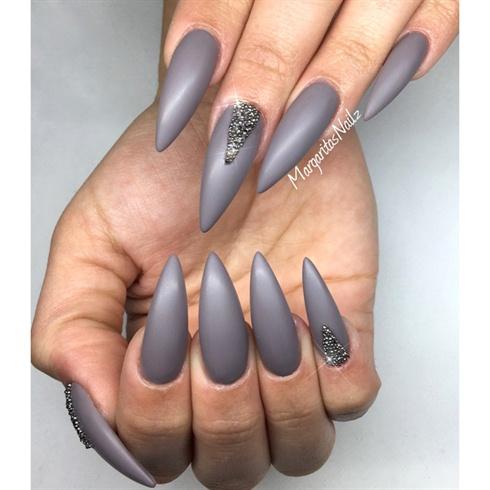 Matte Grey Stiletto Nails