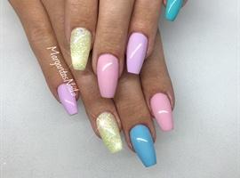 nail art: Pastel Coffin Nails