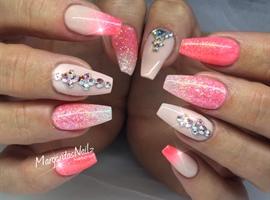 nail art: Coral Ombré Coffin Nails