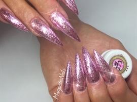 nail art: Pink Glitter Stiletto Nails