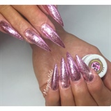 Pink Glitter Stiletto Nails